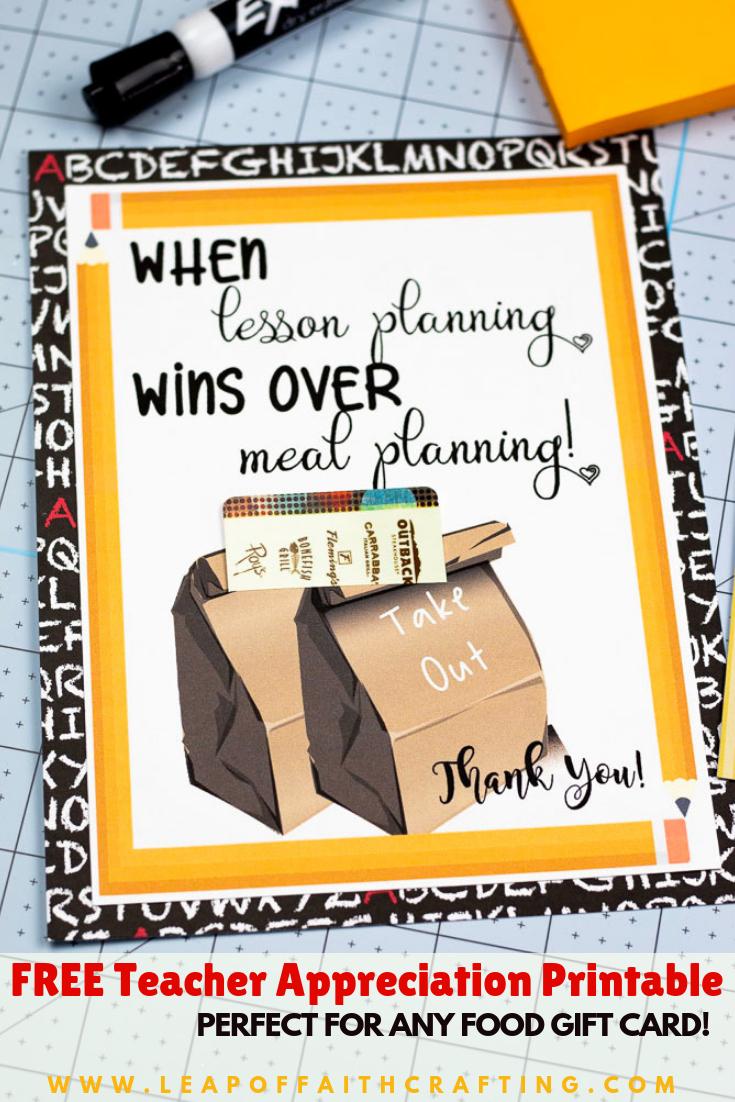 Printable Teacher Appreciation Cards: Just Add A Gift Card! - Leap - Free Teacher Appreciation Week Printable Cards