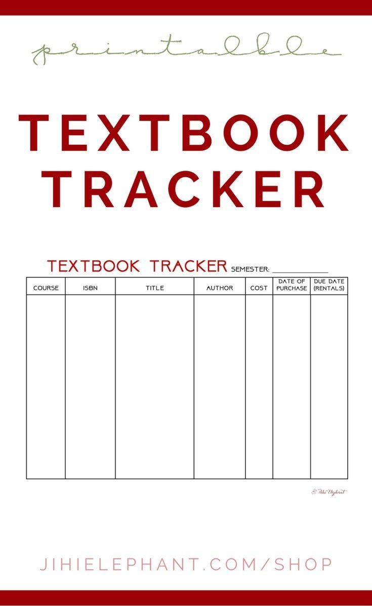 Printable Textbook Tracker Planning Layout | Bullet Journal - Free Printable Textbooks