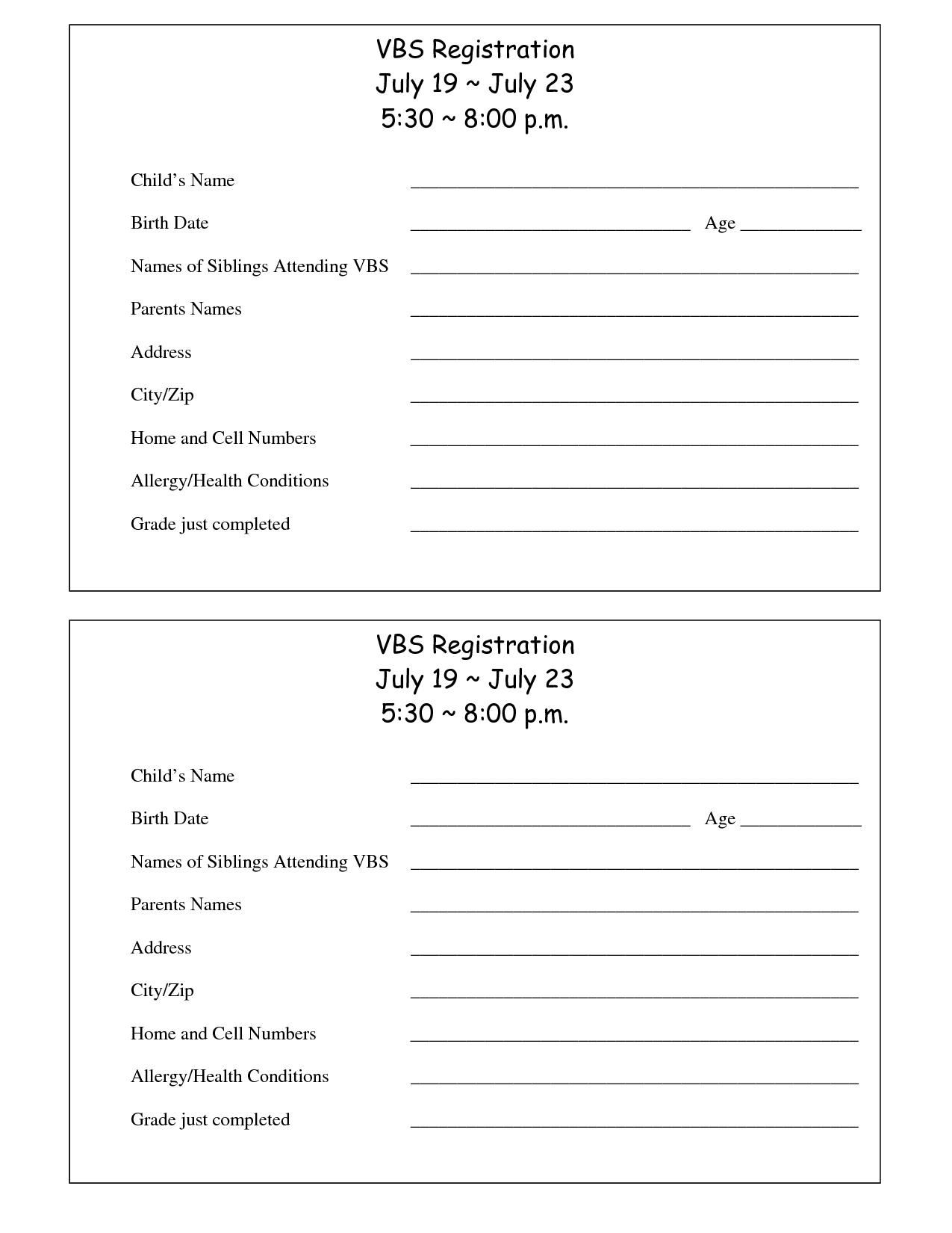 Printable Vbs Registration Form Template | Conference | Registration - Free Printable Vacation Bible School Materials