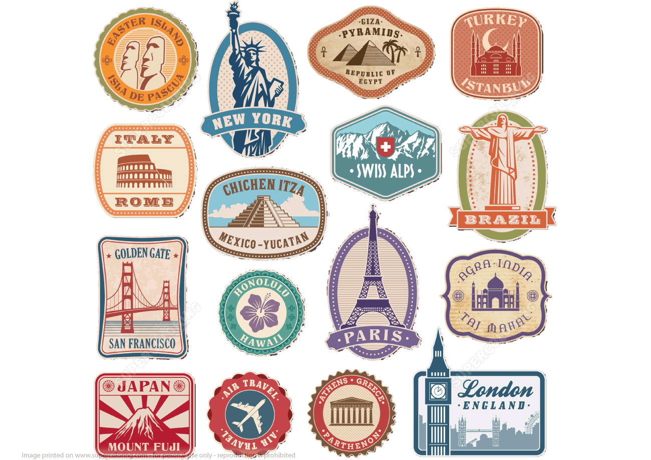 Printable Vintage Travel Stickers | Free Printable Papercraft Templates - Free Printable Travel Stickers