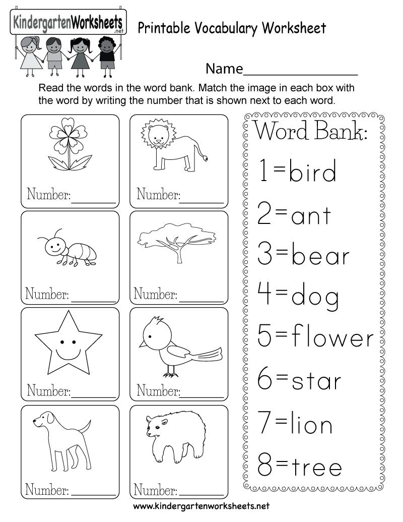 Printable Vocabulary Worksheet - Free Kindergarten English Worksheet - Free Printable English Reading Worksheets For Kindergarten