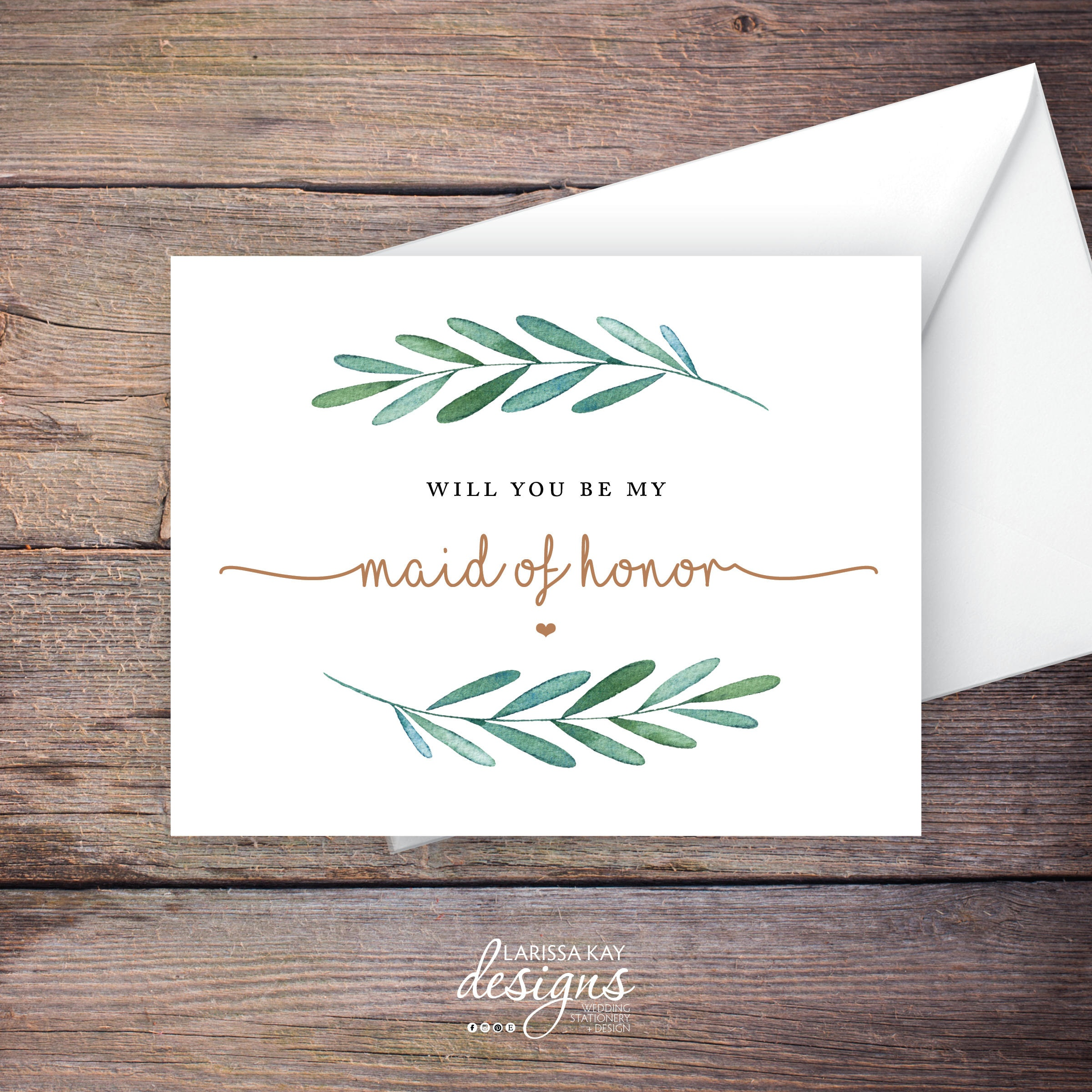Printable Will You Be My Maid Of Honor Card Greenery Instant | Etsy - Free Printable Will You Be My Maid Of Honor Card