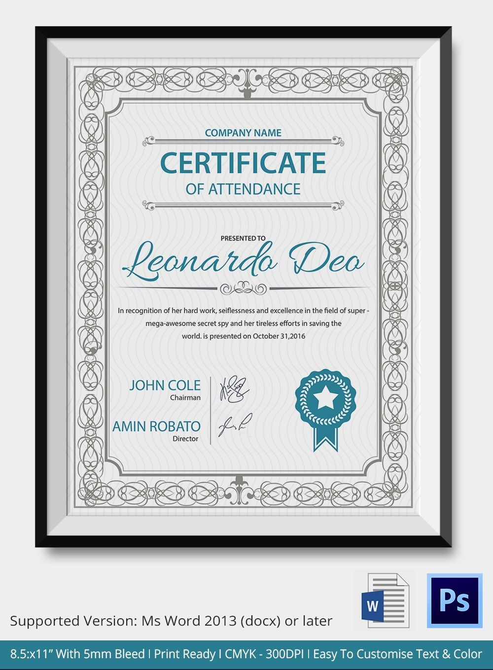 Professional Editable Certificate Of Attendance Template Sample For - Commitment Certificate Free Printable