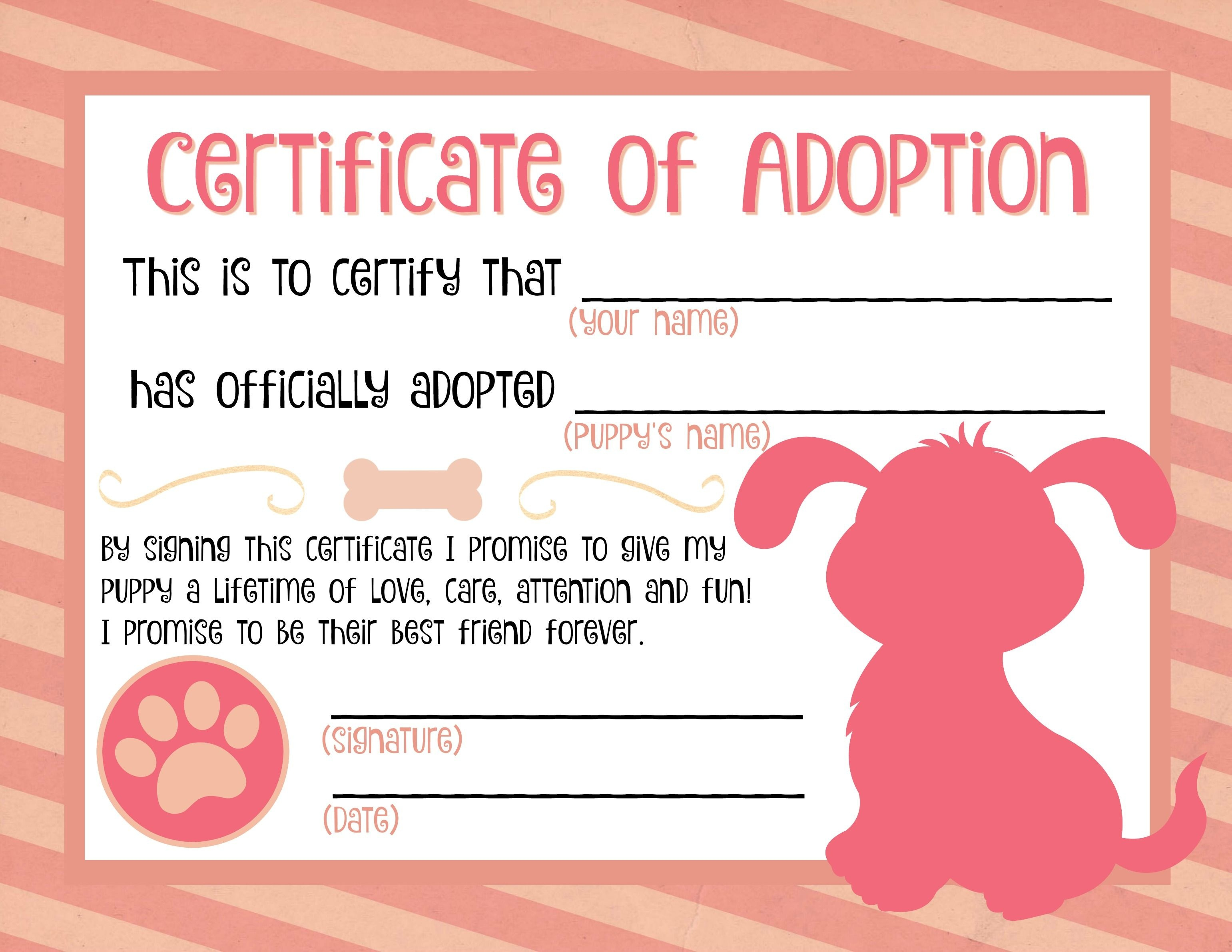 Puppy Adoption Certificate … | Party Ideas In 2019… - Free Printable Stuffed Animal Adoption Certificate