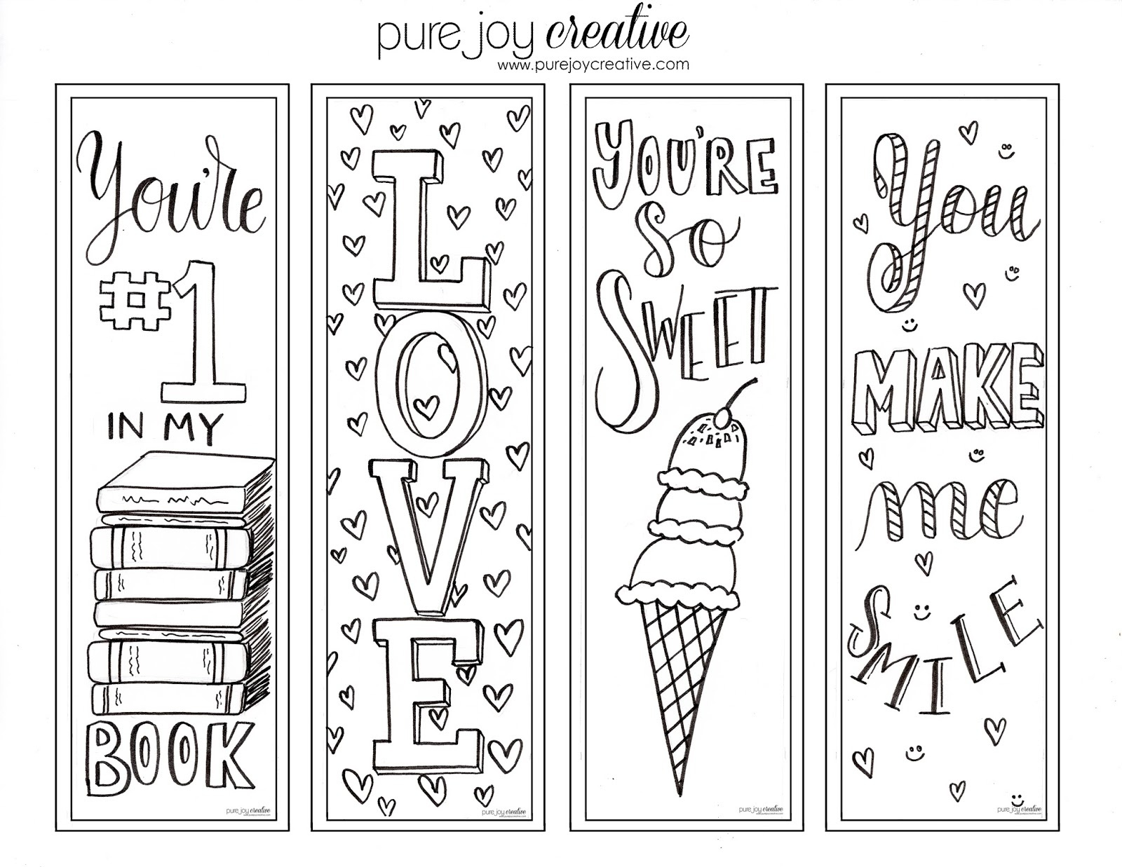 Pure Joy Creative: Free Printable Valentines Day Cards And Bookmarks - Free Printable Valentine Bookmarks