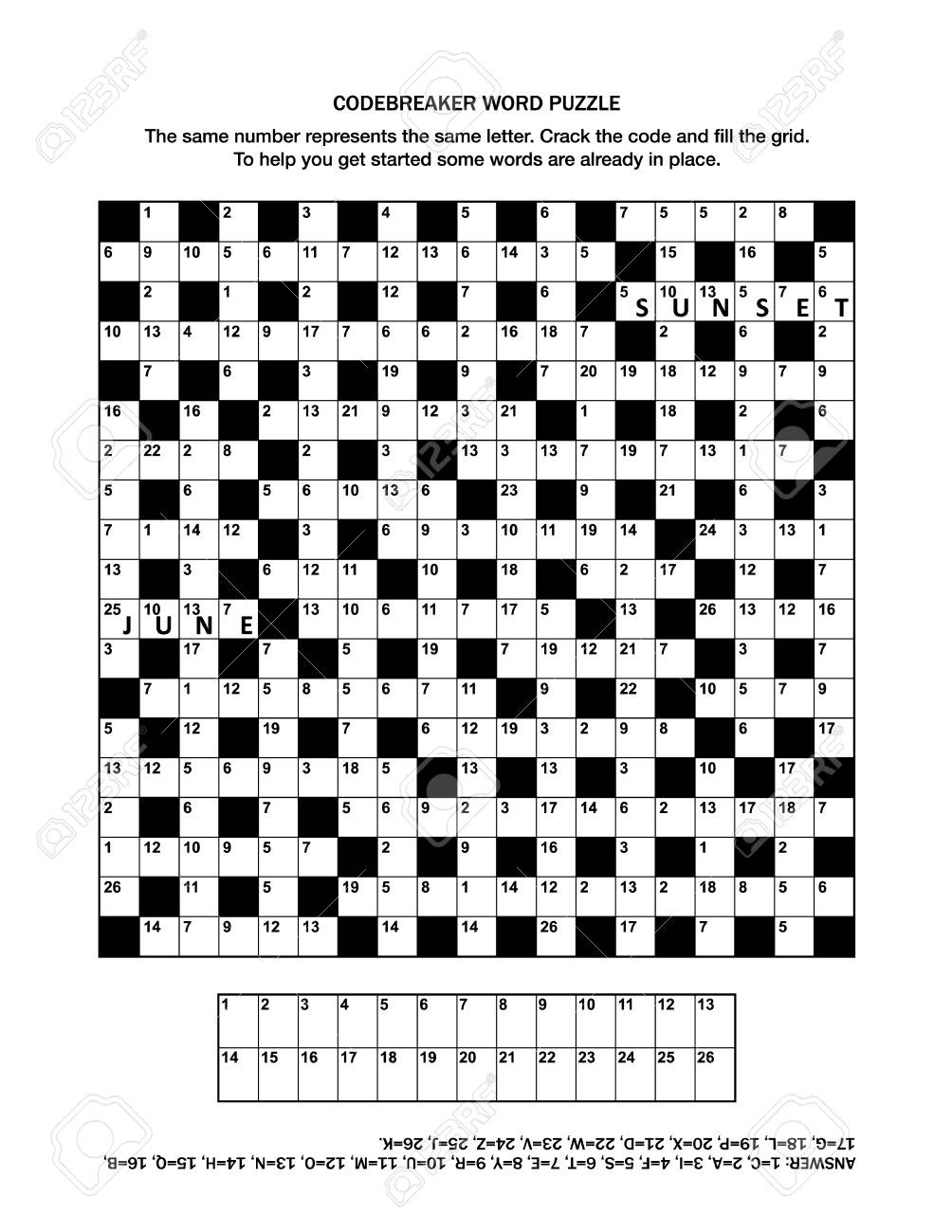 Puzzle Page With Codebreaker (Codeword, Code Cracker) Word Game - Free Printable General Knowledge Crossword Puzzles