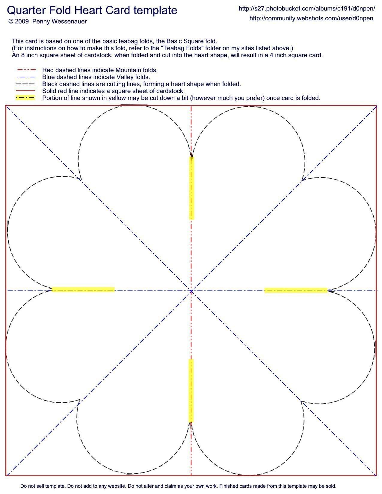 Quarter-Fold Heart Card Template | Fancy Folds | Card Making - Free Printable Quarter Fold Christmas Cards