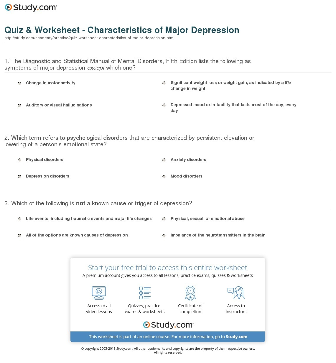 Quiz & Worksheet - Characteristics Of Major Depression | Study - Free Printable Worksheets On Depression