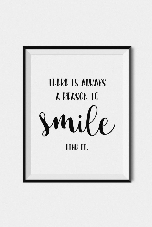 Quote Print Smile, Digital Download Art, Printable Wall Art, Black - Free Printable Smile Your On Camera Sign