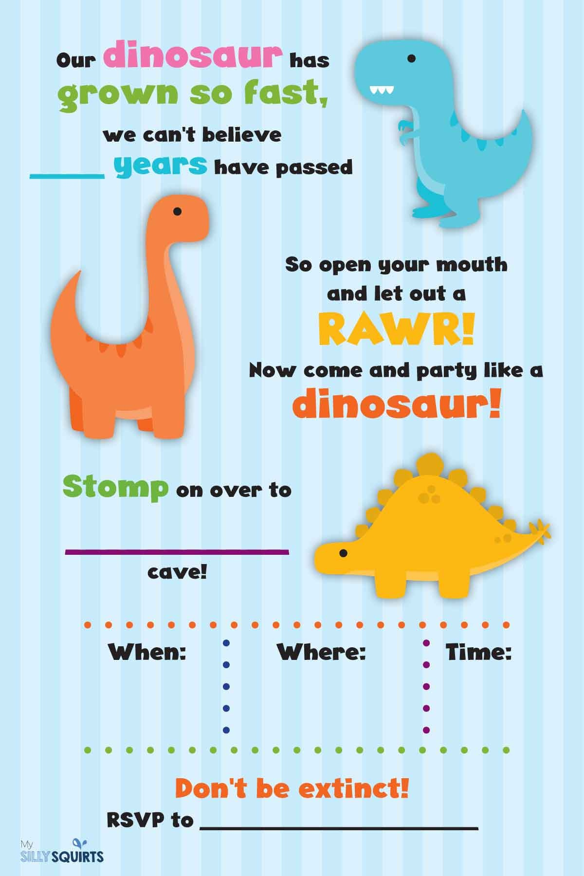 Rawr! Free Dinosaur Birthday Party Printables | My Silly Squirts - Free Printable Dinosaur Birthday Invitations