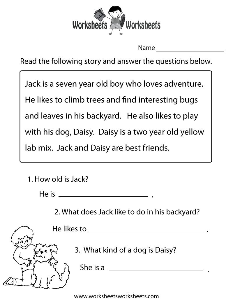 Reading Comprehension Practice Worksheet | Education | 1St Grade - Free Printable Reading Level Assessment Test