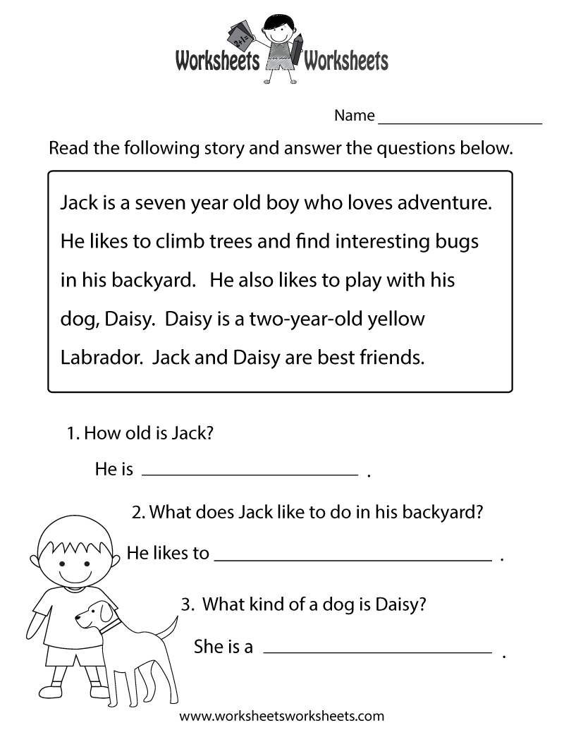 Reading Comprehension Practice Worksheet Printable | Joys Of - Free Printable Reading Activities For Kindergarten