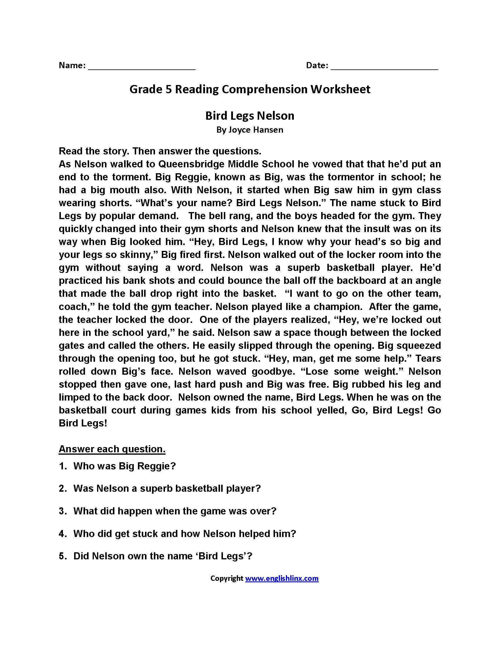 Reading Worksheets   Fifth Grade Reading Worksheets - Free Printable Reading Comprehension Worksheets Grade 5