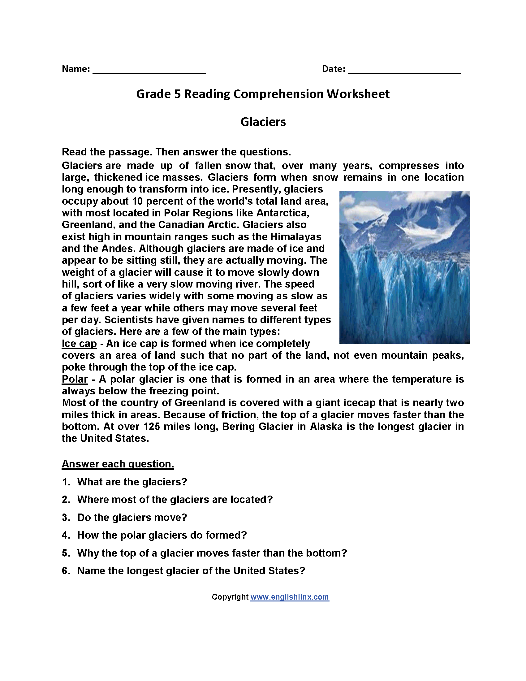 Free Printable Worksheets Reading Comprehension 5Th Grade ...
