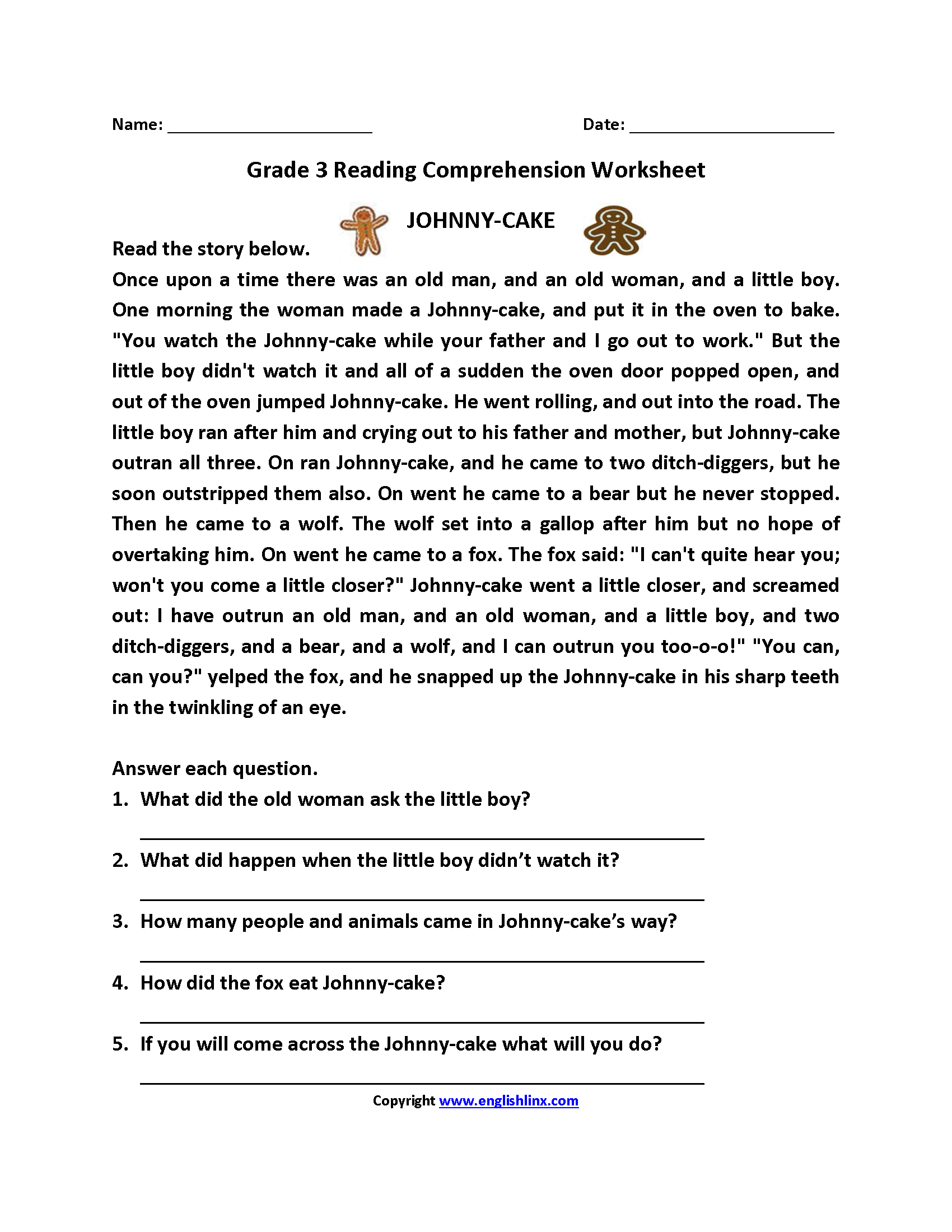 Reading Worksheets | Third Grade Reading Worksheets - Free Printable Reading Comprehension Worksheets For 3Rd Grade