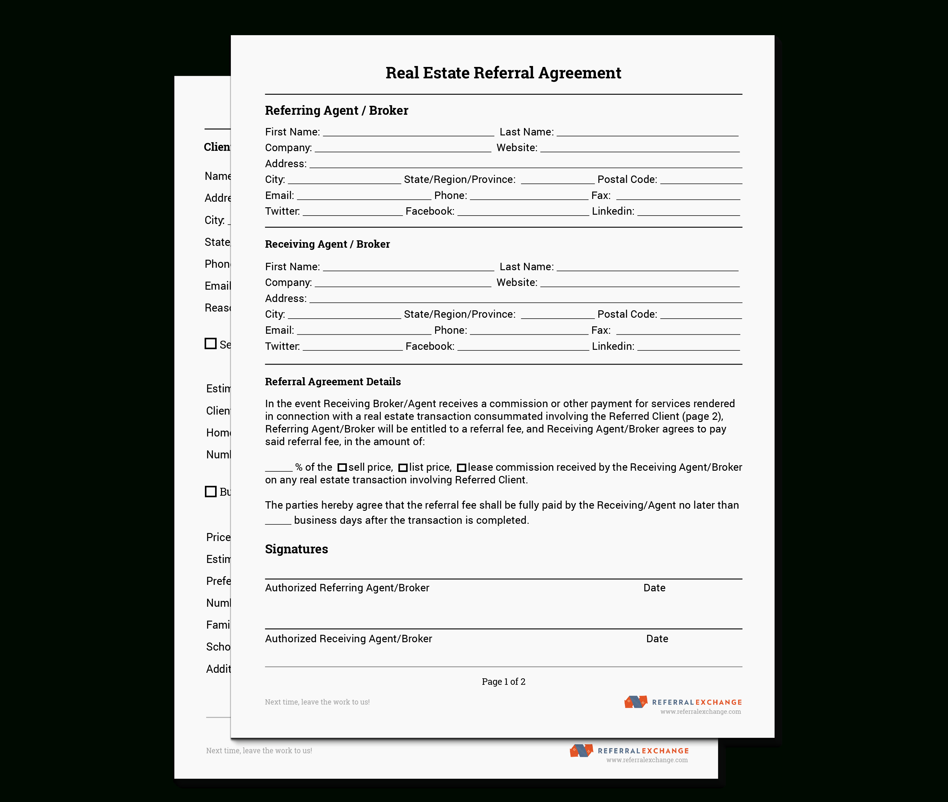 Realtor® Referral Form | Free Download | Referralexchange - Free Printable Real Estate Forms