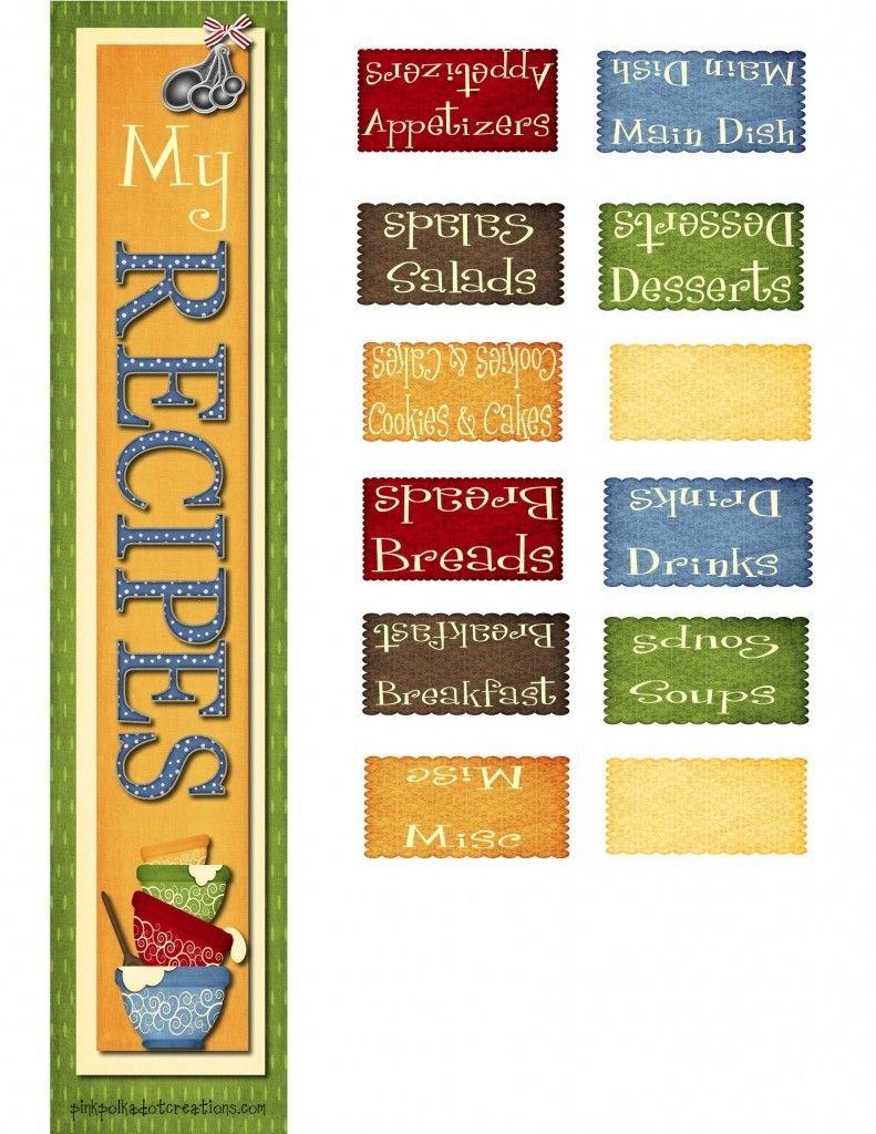 Recipe Book Dividers | Diy Ideas | Book Dividers, Recipe Scrapbook - Free Printable Recipe Dividers
