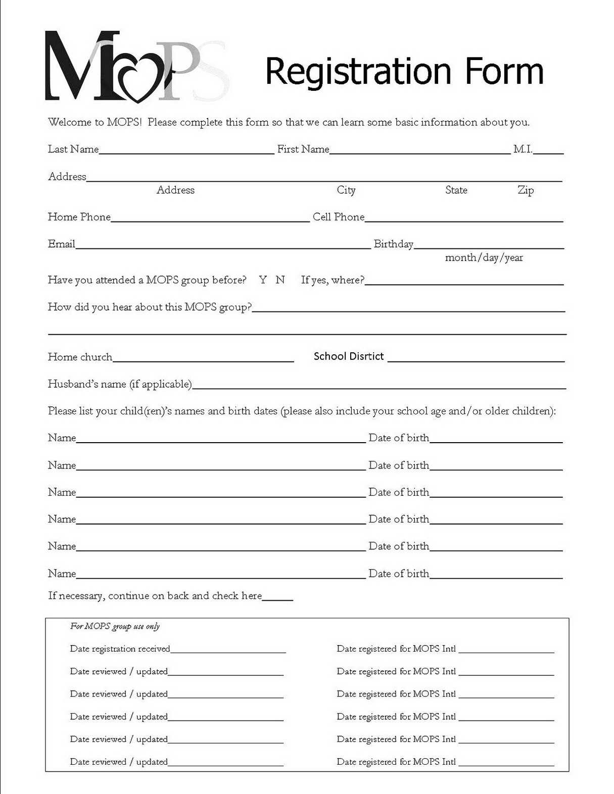 Registration Forms Template Free | Charlotte Clergy Coalition - Free Printable Membership Forms