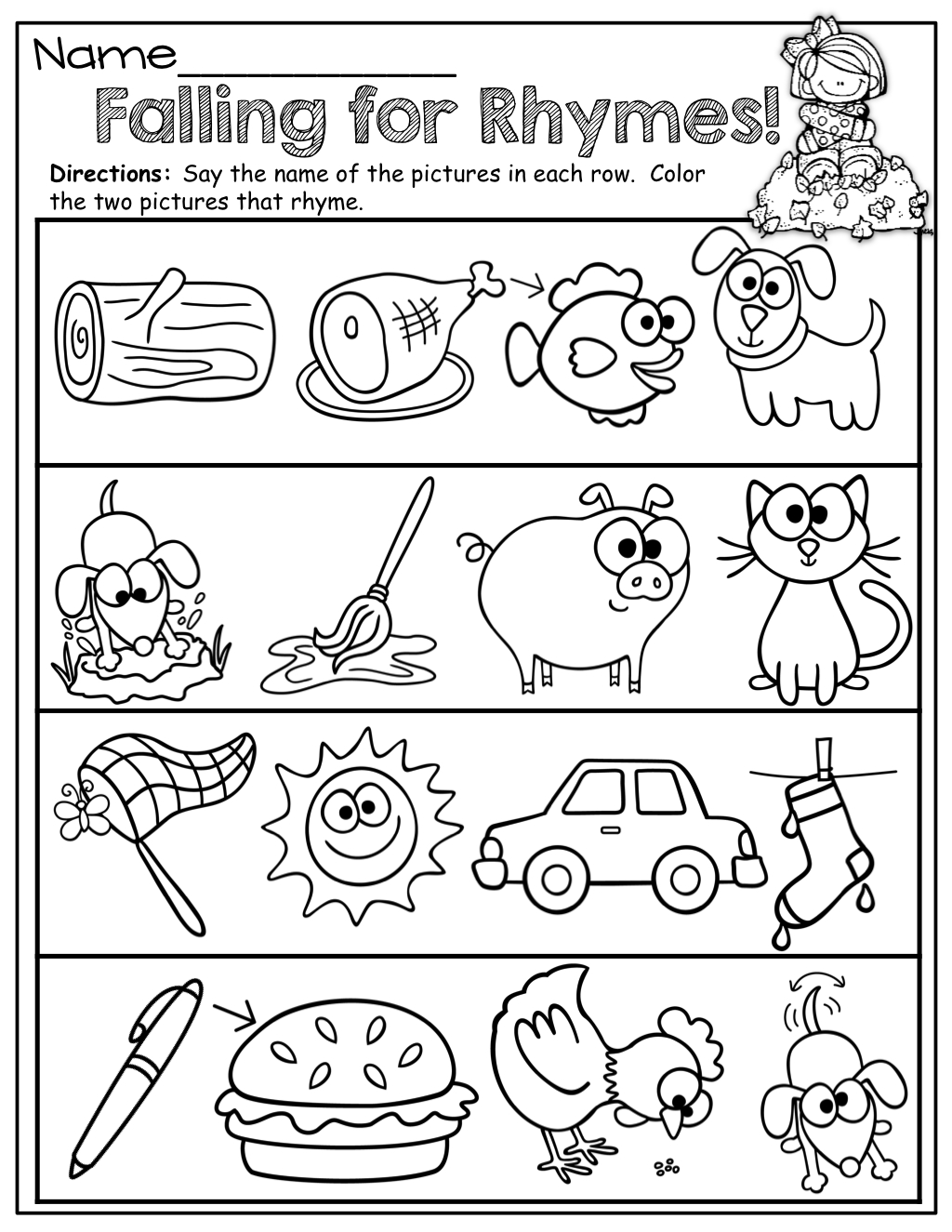 Repinnedmyslpmaterials Visit Our Page For Free Speech - Free Printable Rhyming Words Worksheets