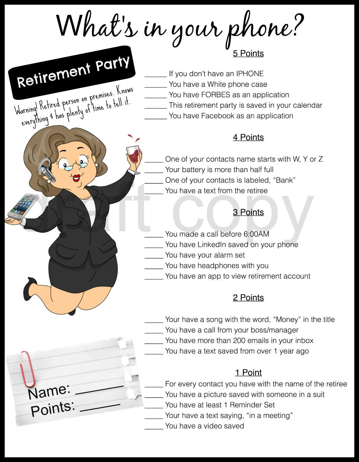 Retirement Party Game-Whats In Your Phone | Retirement Party Games - Retirement Party Games Free Printable