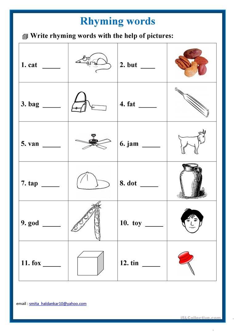 Rhyming Words Worksheet - Free Esl Printable Worksheets Madeteachers - Free Printable Rhyming Words Worksheets
