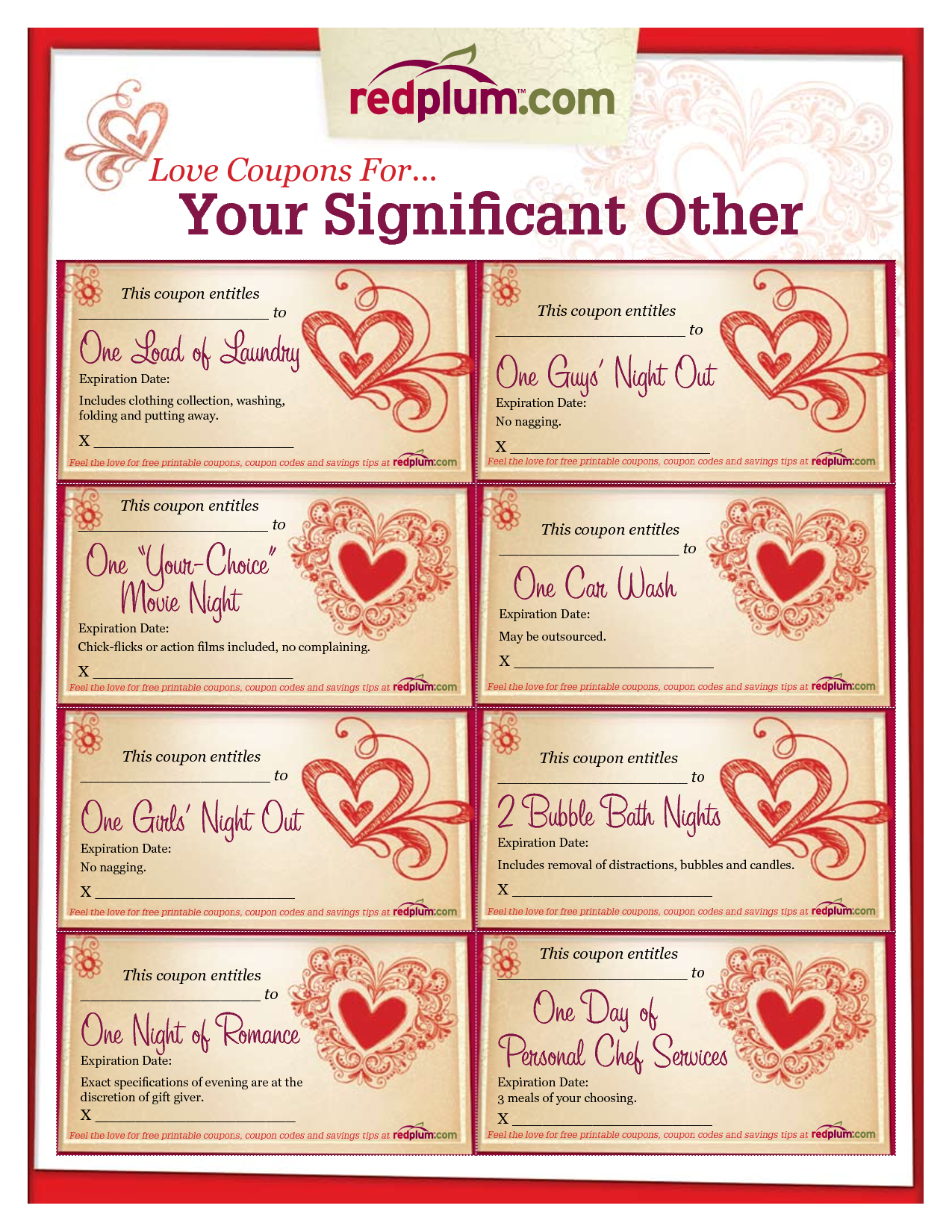 Romantic Love Coupon Template Printable | Love Coupons For Your - Free Printable Coupon Templates
