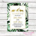 Safari Baby Shower Invitation, Gold Safari Baby Shower Invitation   Free Printable Jungle Safari Baby Shower Invitations