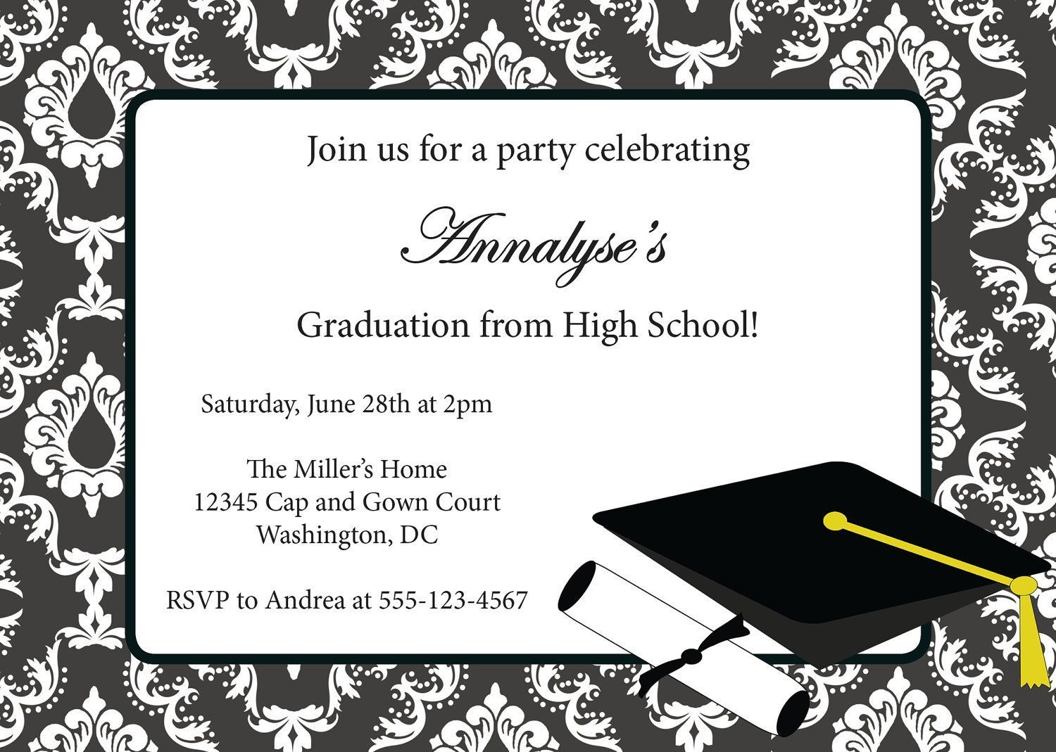 Sample Invitation Card For Graduation Party | Graduation Invitation - Free Online Printable Graduation Invitation Maker