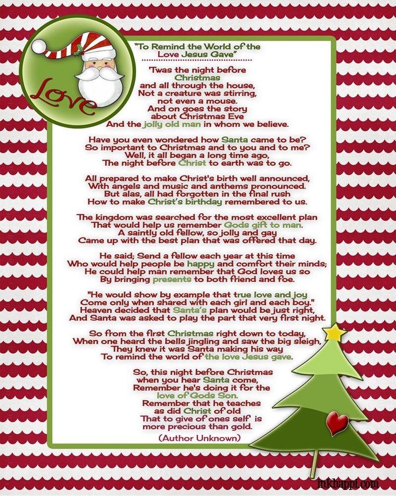 Santa And Christ …poem And A Christmas Tradition | Christmas Ideas - Free Printable Christian Christmas Poems