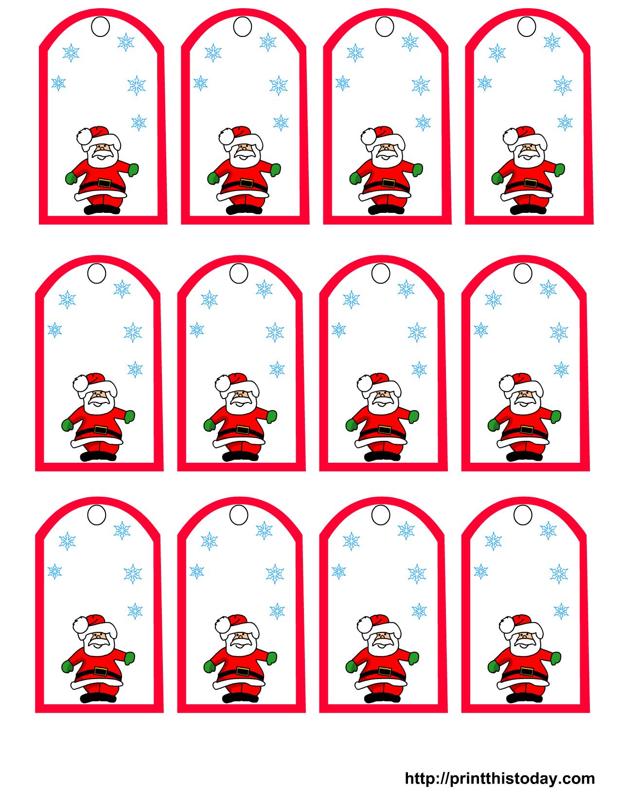 Santa Claus And Snowflakes, Free Printable Christmas Gift Tags - Free Printable Editable Christmas Gift Tags