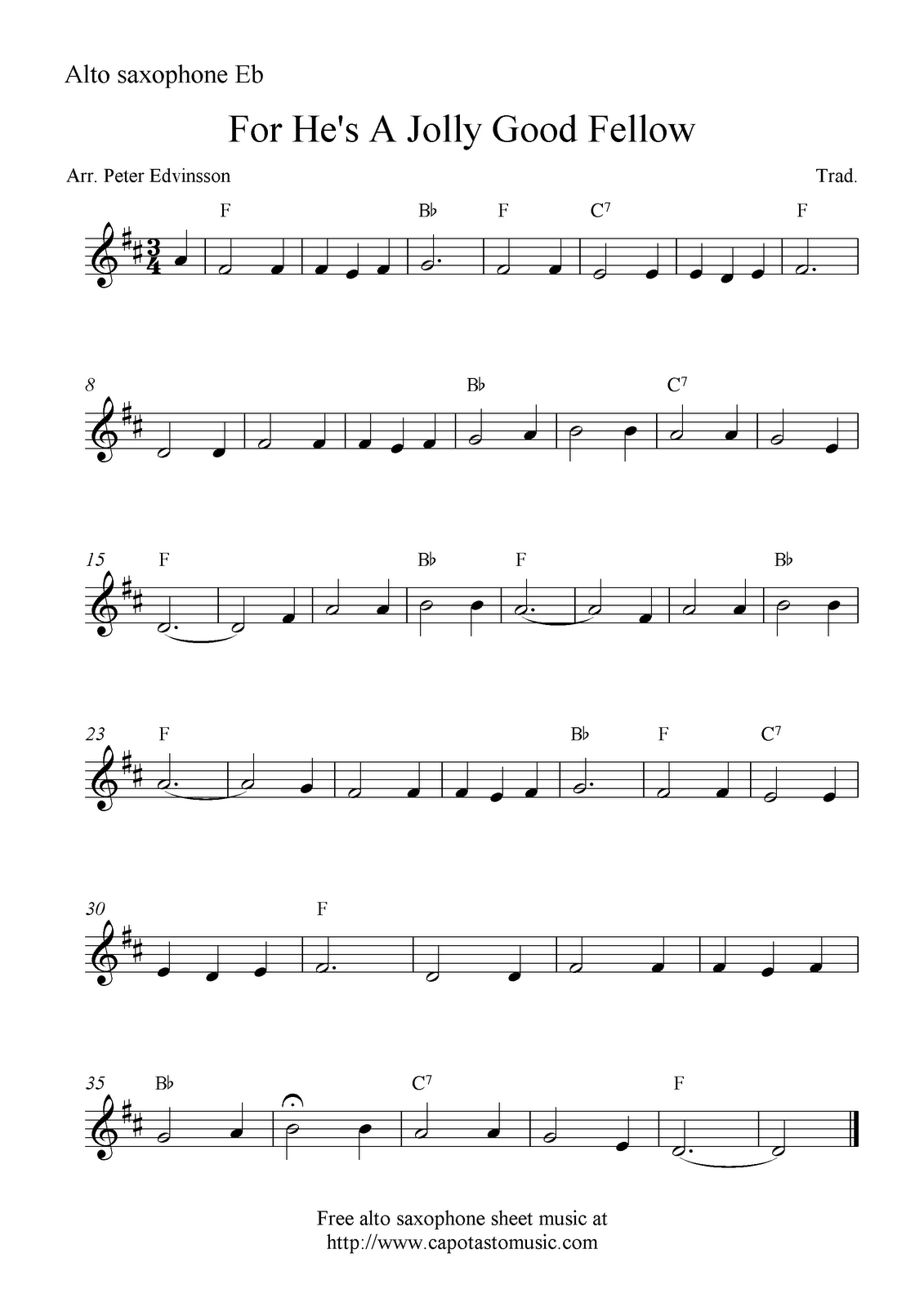Saxophone Sheet Music For Beginners   Sheet Music Scores: For He's A - Free Printable Alto Saxophone Sheet Music