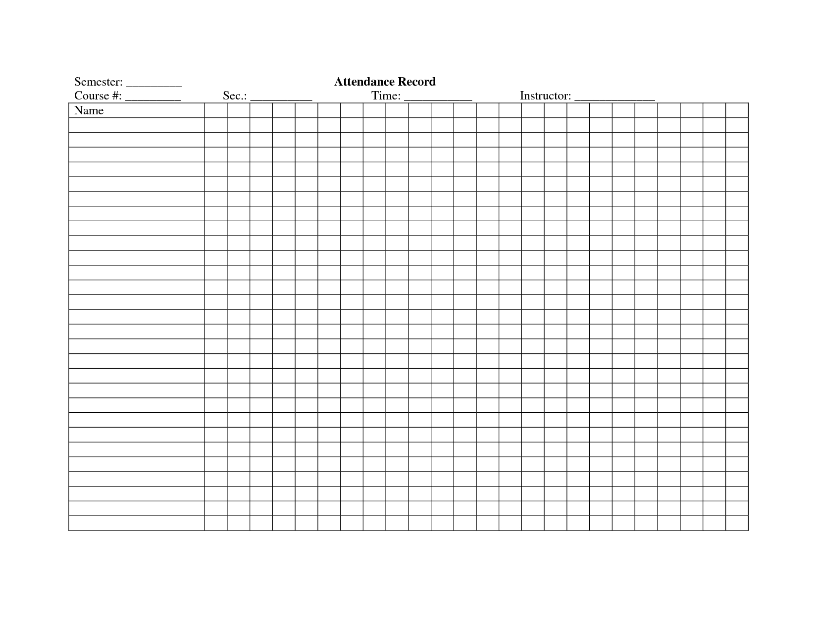 School Attendance Register Template   School/study Ideas - Free Printable Attendance Forms For Teachers