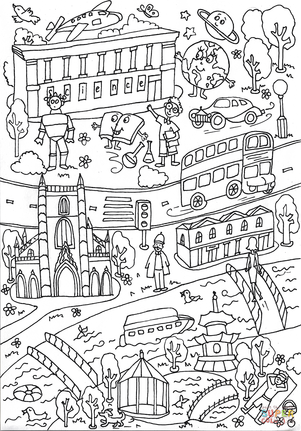 Science Museum And Battersea Park Coloring Page | Free Printable - Free Printable South Park Coloring Pages