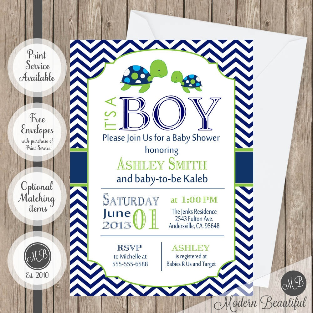 Sea Turtle Baby Shower Invitation Navy And Lime Green Chevron | Etsy - Free Printable Turtle Baby Shower Invitations