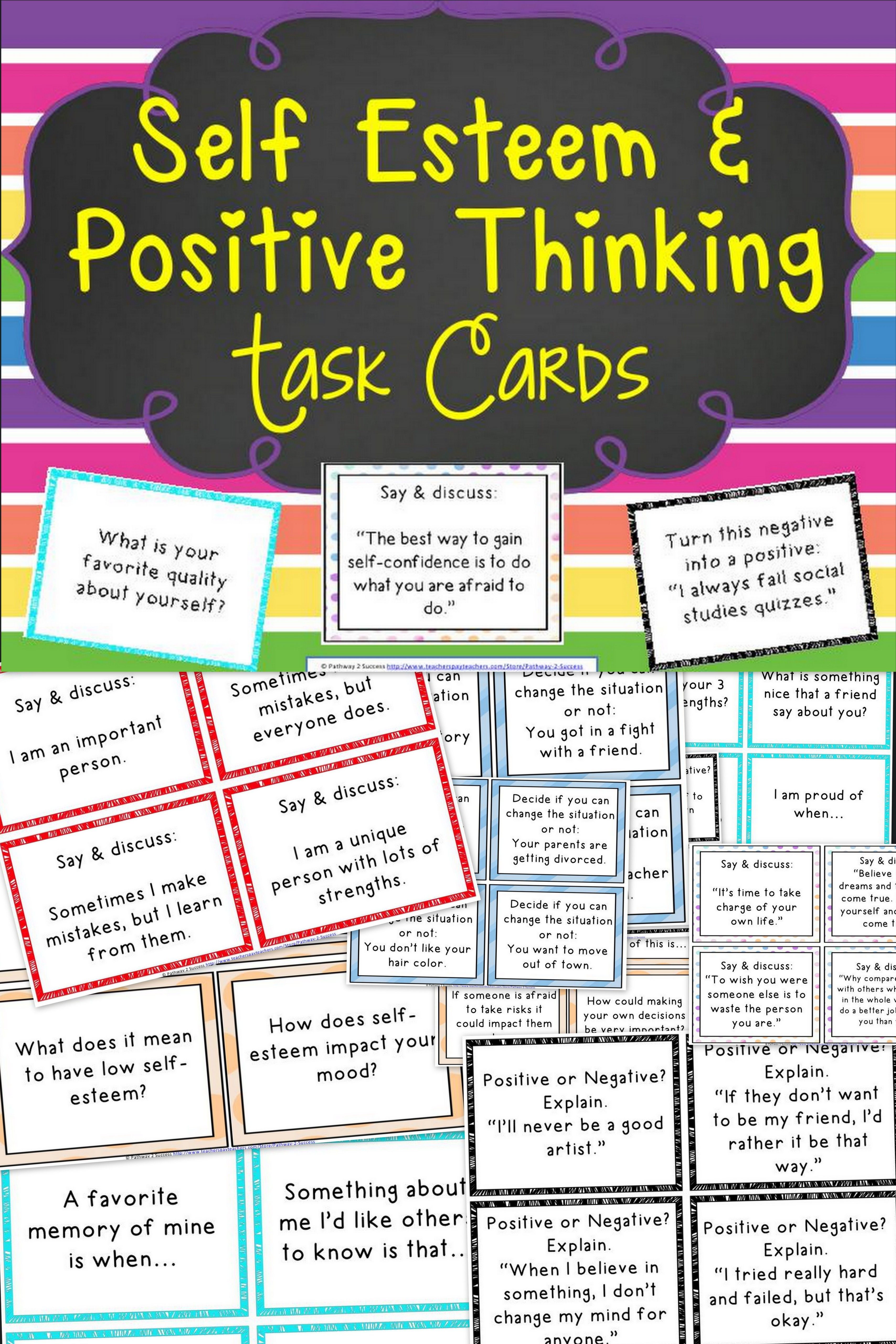 Self-Esteem And Positive Thinking Task Cards | Special Education - Free Printable Self Esteem Bingo