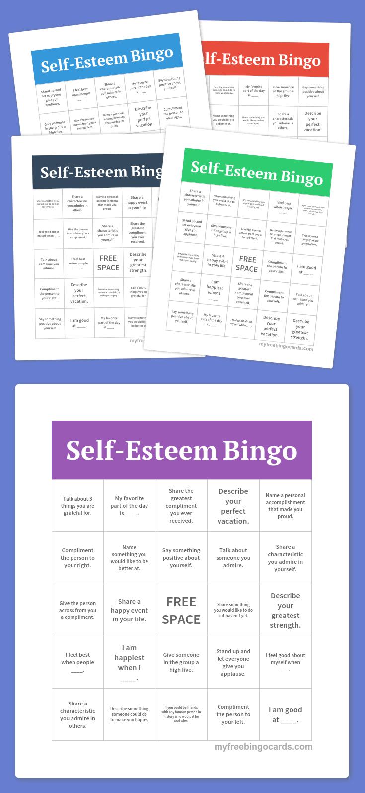 Self-Esteem Bingo | Group Ideas | Free Bingo Cards, Free Printable - Free Printable Self Esteem Bingo