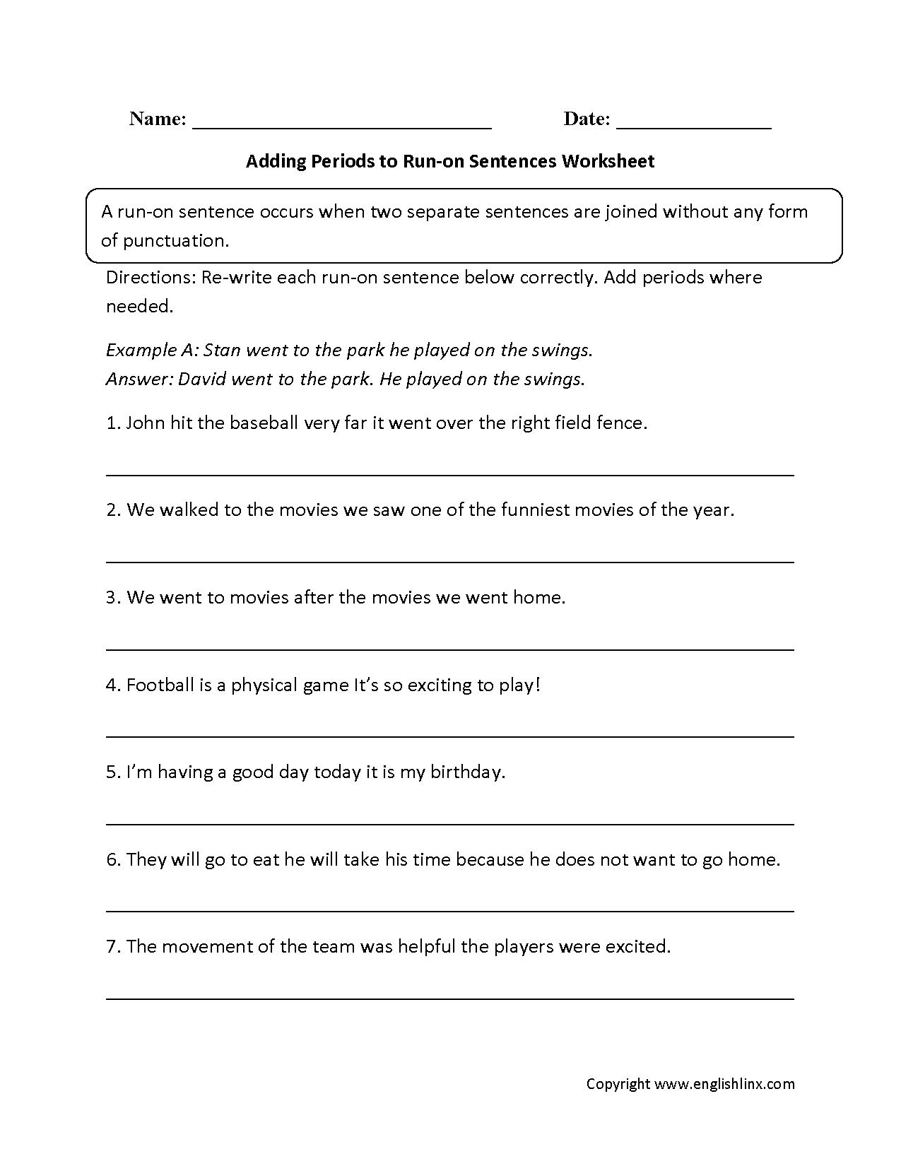 Sentences Worksheets | Run On Sentences Worksheets - Free Printable Sentence Correction Worksheets
