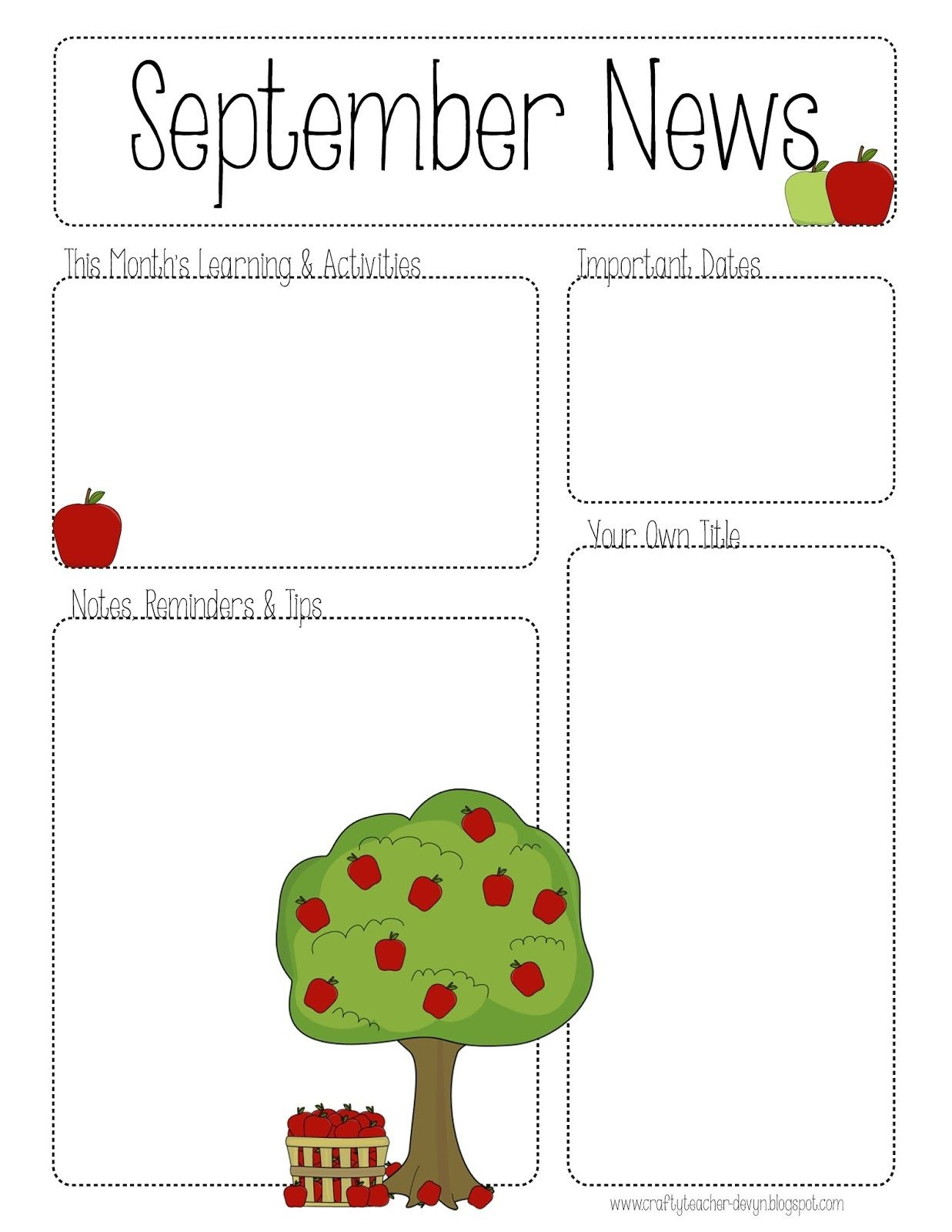 September Printable Newsletter -- All Grades! | Kindergarten - Free Printable Preschool Newsletter Templates