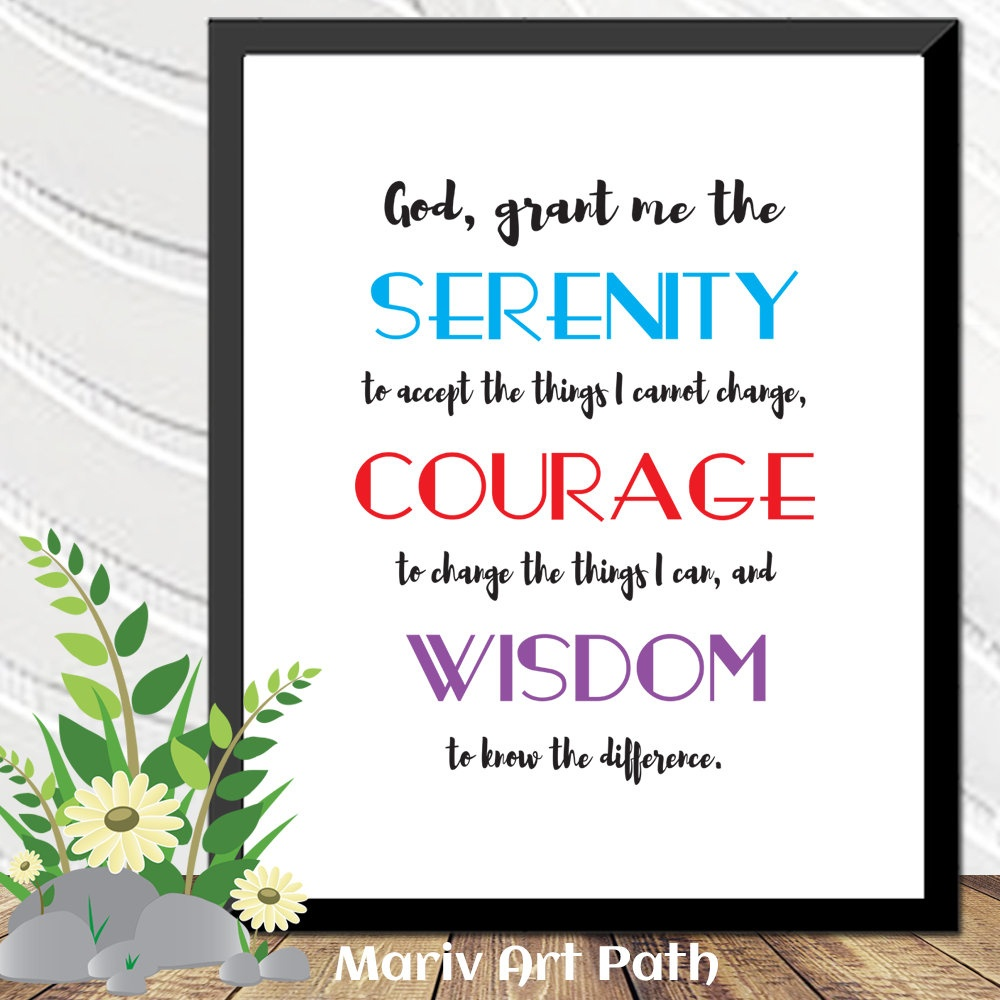 Serenity Prayer Printable Art Bible Verse Art Gift For Him | Etsy - Free Printable Serenity Prayer