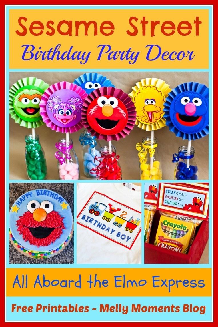 Sesame Street & Elmo Themed Birthday Party - Free Printable Sesame Street Cupcake Toppers