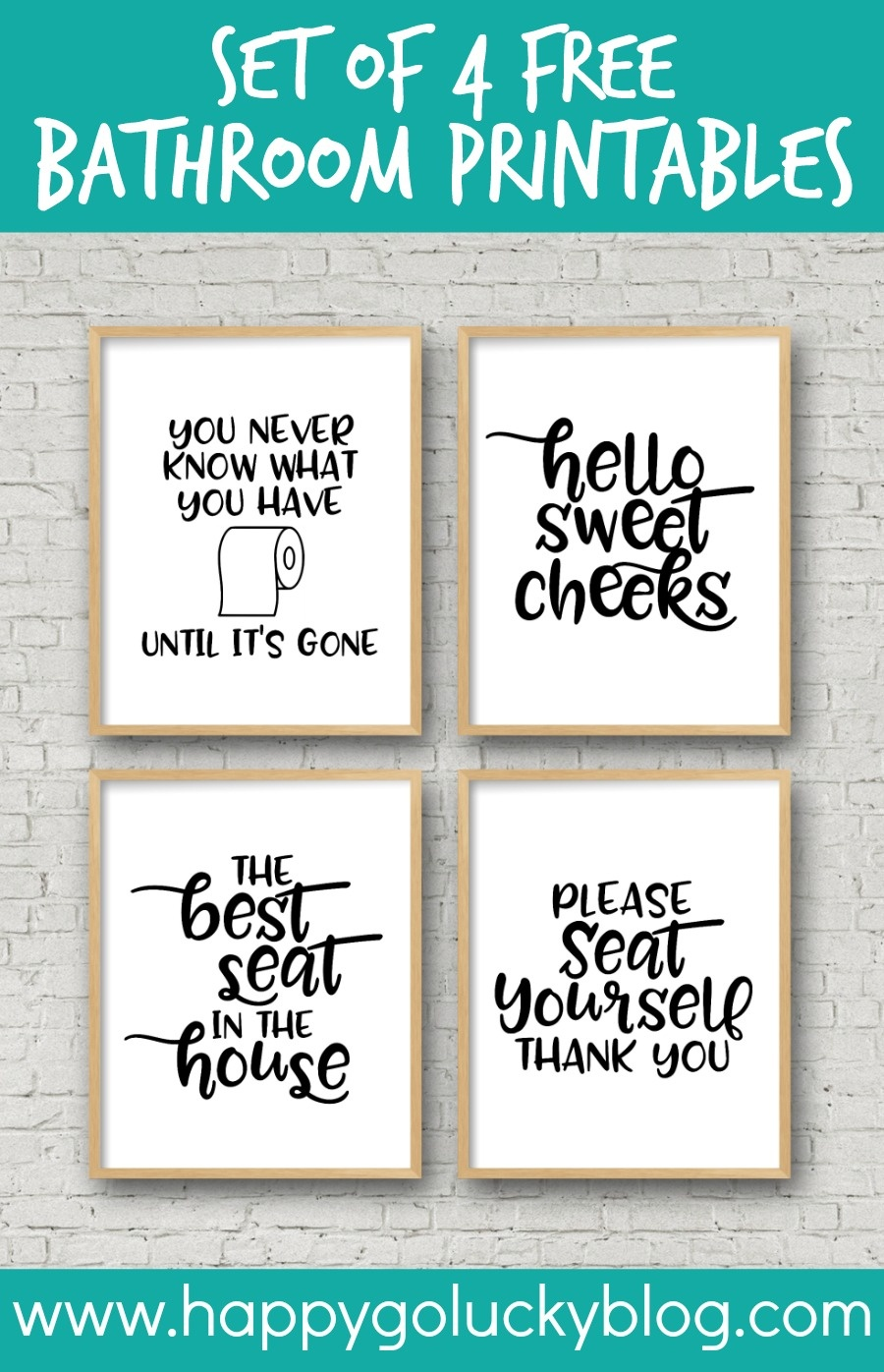 Set Of 4 Printable Bathroom Signs - Happy-Go-Lucky - Free Printable Signs