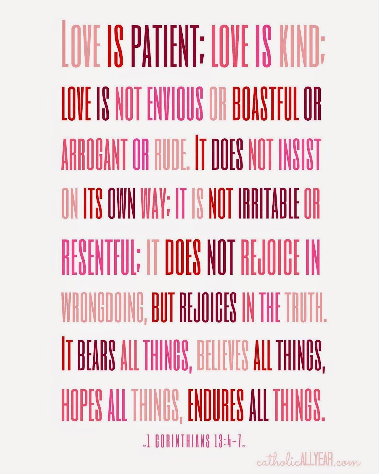 Seven Free Printable Catholic Valentines | Holidays | Catholic All - Love Is Patient Free Printable