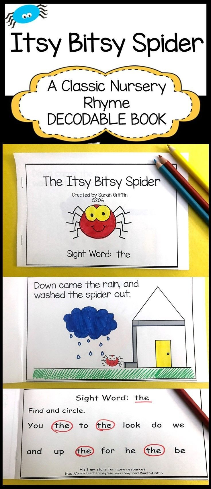 Sight Word Reader - Itsy Bitsy Spider - Bw   It's About Time For - Free Printable Decodable Books For Kindergarten