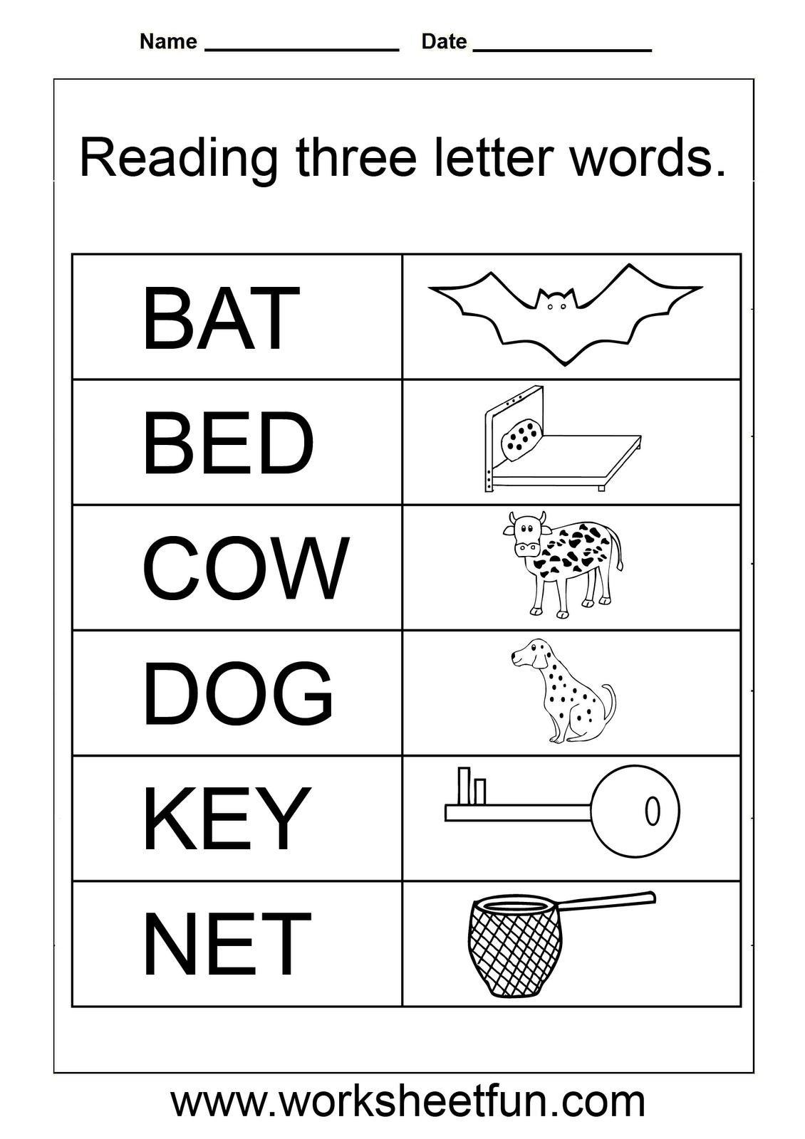 Simple Words - Worksheet | Homeschooling: Reading & Grammar - Free Printable English Reading Worksheets For Kindergarten