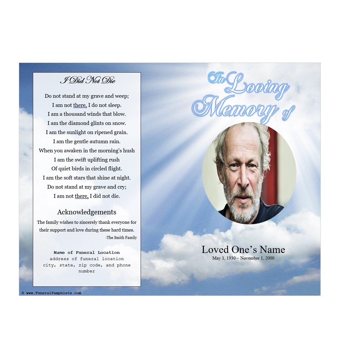 Sky Memorial Program | Funeral Pamphlets - Free Printable Funeral Programs