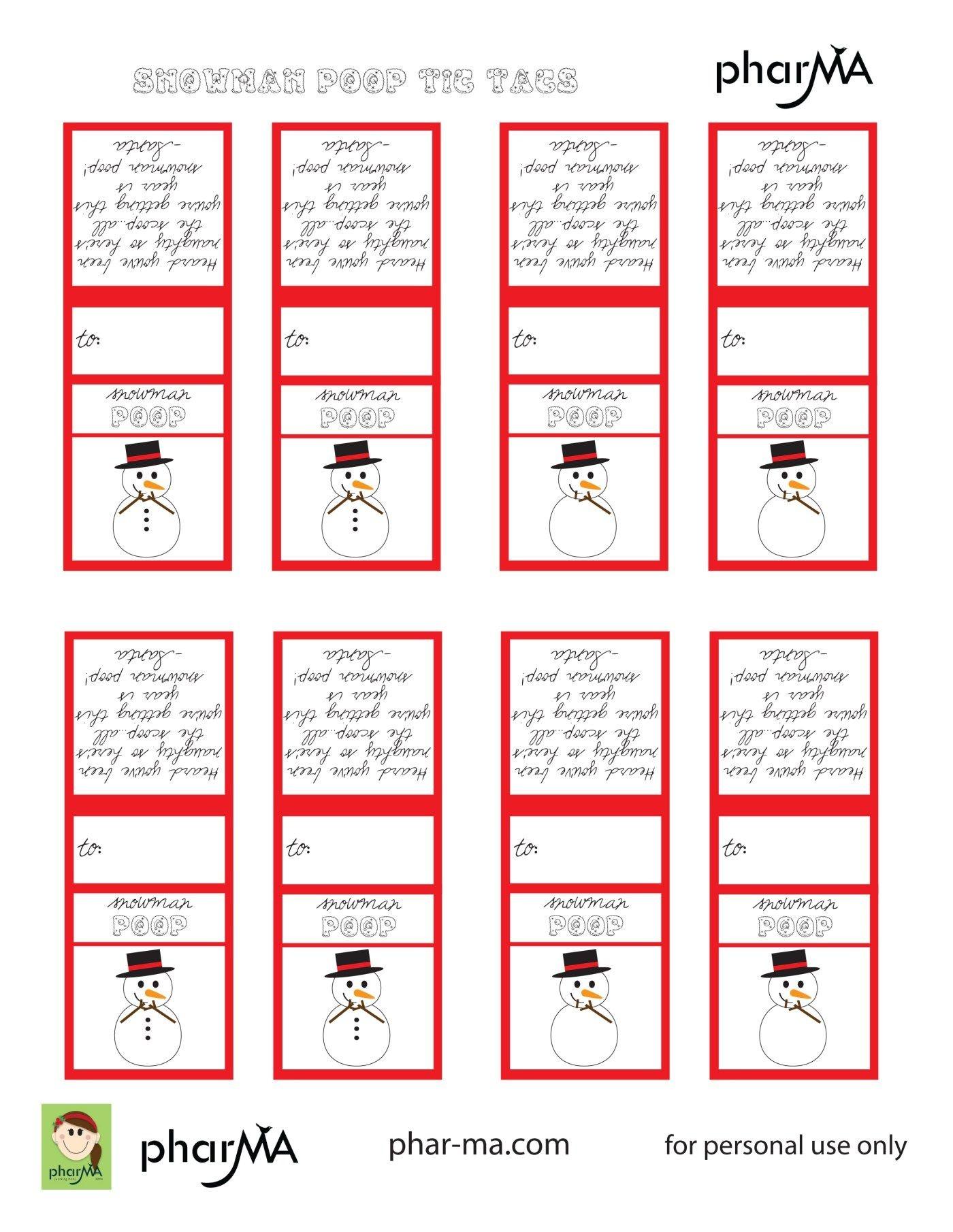 Snowman Poop Tic Tac Labels | Let's Make Christmas Things! | Snowman - Free Printable Tic Tac Labels