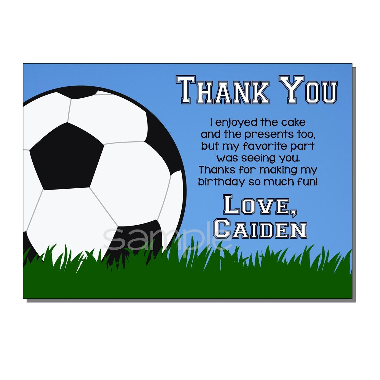 Soccer Thank You Card Birthday Party Digital Or Printed | Etsy - Free Printable Soccer Thank You Cards