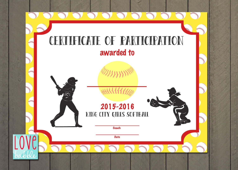 Softball Certificate Templates Free - Tutlin.psstech.co - Free Printable Softball Certificates