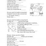 Song Lyrics From Frozen  Do You Want To Build A Snowman? Worksheet   Free Printable Song Lyrics