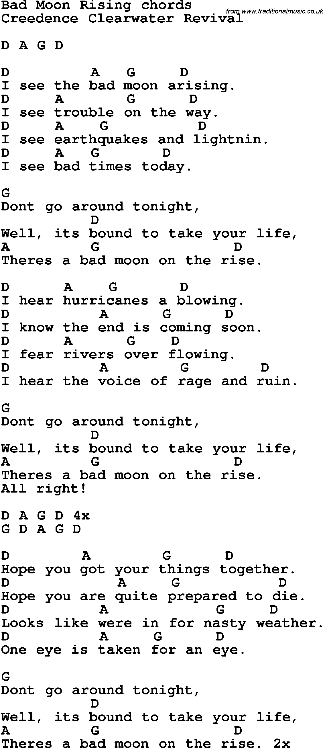 Song Lyrics With Guitar Chords For Bad Moon Rising | Music In 2019 - Free Printable Song Lyrics With Guitar Chords
